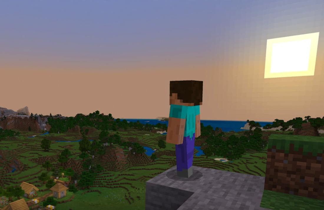 Minecraft character Steve looks out over the Minecraft landscape as the sun sets.