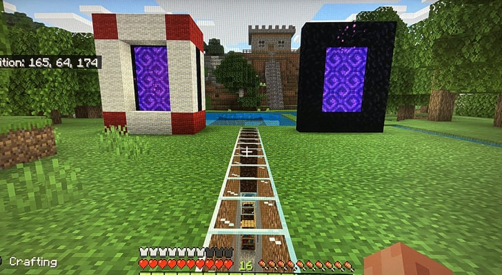 Two Nether Portals placed side-by-side in Minecraft.