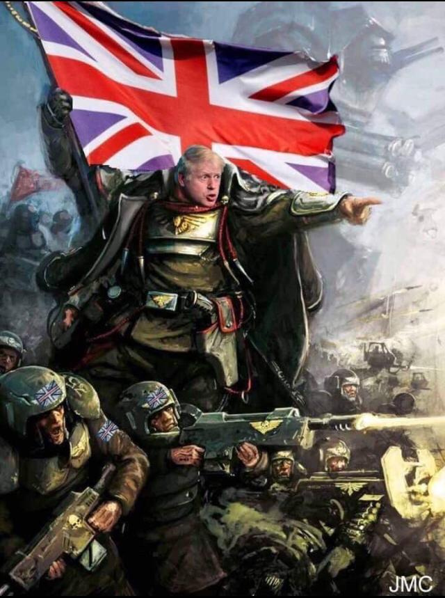 Boris Johnson as Lord Castellan Ursarkar E. Creed from the Warhammer 40k series.